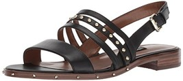 Nine West Women's Chaylen Leather Flat Sandal (9.5 Black) - $64.11