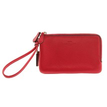 NWT COACH Pebble Leather Double Corner Zipper Wristlet Wallet Red Pink F... - $59.40
