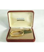 Vintage Engravable Blank Key Ring Foster Gold Plated Estate Holder Box D... - $12.38