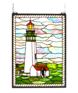 """15""""W X 20""""H  Yaquina Head Lighthouse Stained Glass Window - 55949 - $325.80"""