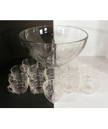 Punch Bowl Set HORIZONTAL RINGS BANDS 13-pc Pedestal Glass Holiday Thanksgiving