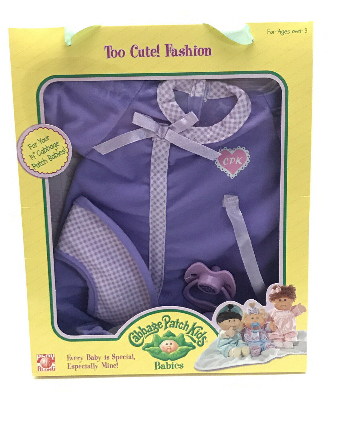 Cabbage Patch Kids Babies Too Cute! Fashion Doll Clothes Purple Outfit Bib CPK - $31.68
