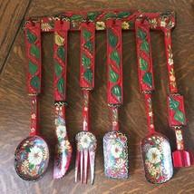 Vintage Red Wooden Hand Painted 6 Pc Hanging Kitchen Utensil Set Dutch F... - $32.71