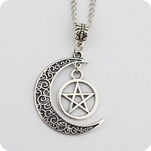 Silver Pentagram And Crescent Moon Pendant - Wiccan Jewelry, Pentacle N... - $12.23