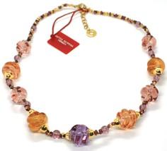 Necklace Antica Murrina Venezia,CO740A05,Purple Orange,Spirals,Murano - $91.41