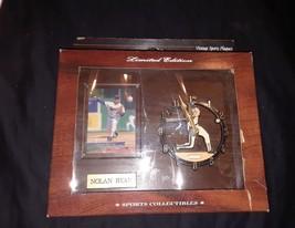 Vintage sport plaques Nolan Ryan Rangers baseball card and clock plaque - $27.74
