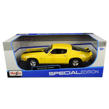 1971 Chevrolet Camaro Yellow with Black Stripes 1/18 Diecast Model Car by Maisto - $40.99