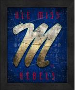 "Ole Miss Rebels ""Retro College Logo Map"" 13x16 Framed Print  - $39.95"