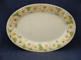 "Metlox Poppy Trail Sculptured Daisy14"" Oval Serving Platter Good Used Co... - $19.95"
