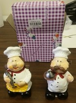 Set of 2 NEW FAT CHEF STANDING FIGURES, Chef with tray & chef with fish - $11.87