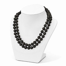 "STERLING SILVER 2 ROW DOUBLE STRAND 10 -11 MM BLACK SHELL PEARL 18"" NECK... - $105.91"