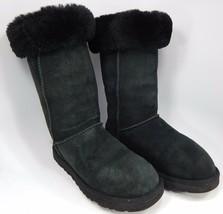 Ugg Classici Alti Stivali di pelle di Pecora Taglia 7 M (B) Eu 38 Nero Modello #