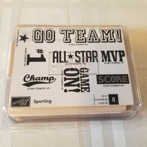 2007 Stampin Up Sporting 8pc Rubber Ink Stamp Set Mvp Go Team Score Game On #1 - $34.65