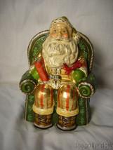 Vaillancourt Folk Art Gold Santa in Seat with Shopping Catalog Signed  image 1