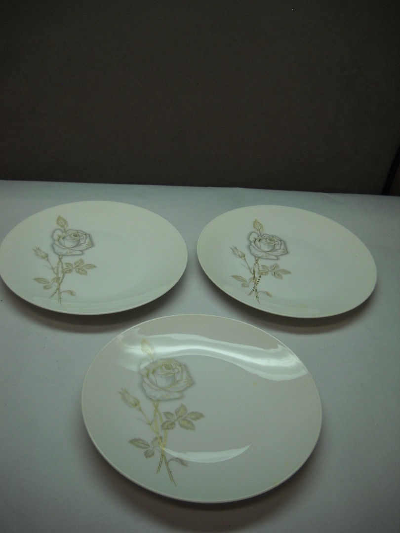 Primary image for SET OF 3 Salad Plates ROSENTHAL China Classic Rose PATTERN Raymon LOEWY Deisgn