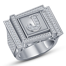 White Gold Finish 925 Silver Mens Diamond Engagement Wedding Pinky Initial Ring - $183.99