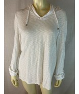 Chicos weekend Top 1 White Striated Cotton Pullover Stretch Knit  Hoodie... - $33.66