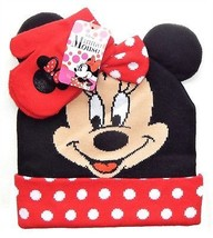 Minnie Maus Disney Strick Gepunktet Wintermütze & Handschuh Set mit / Ohren & - $15.83