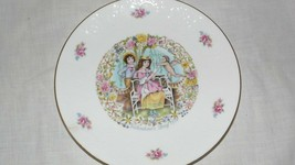 Royal Doulton My Valentine Day Cupid Angel & Couple Plate 1978 Roses Gold Edging - $19.79