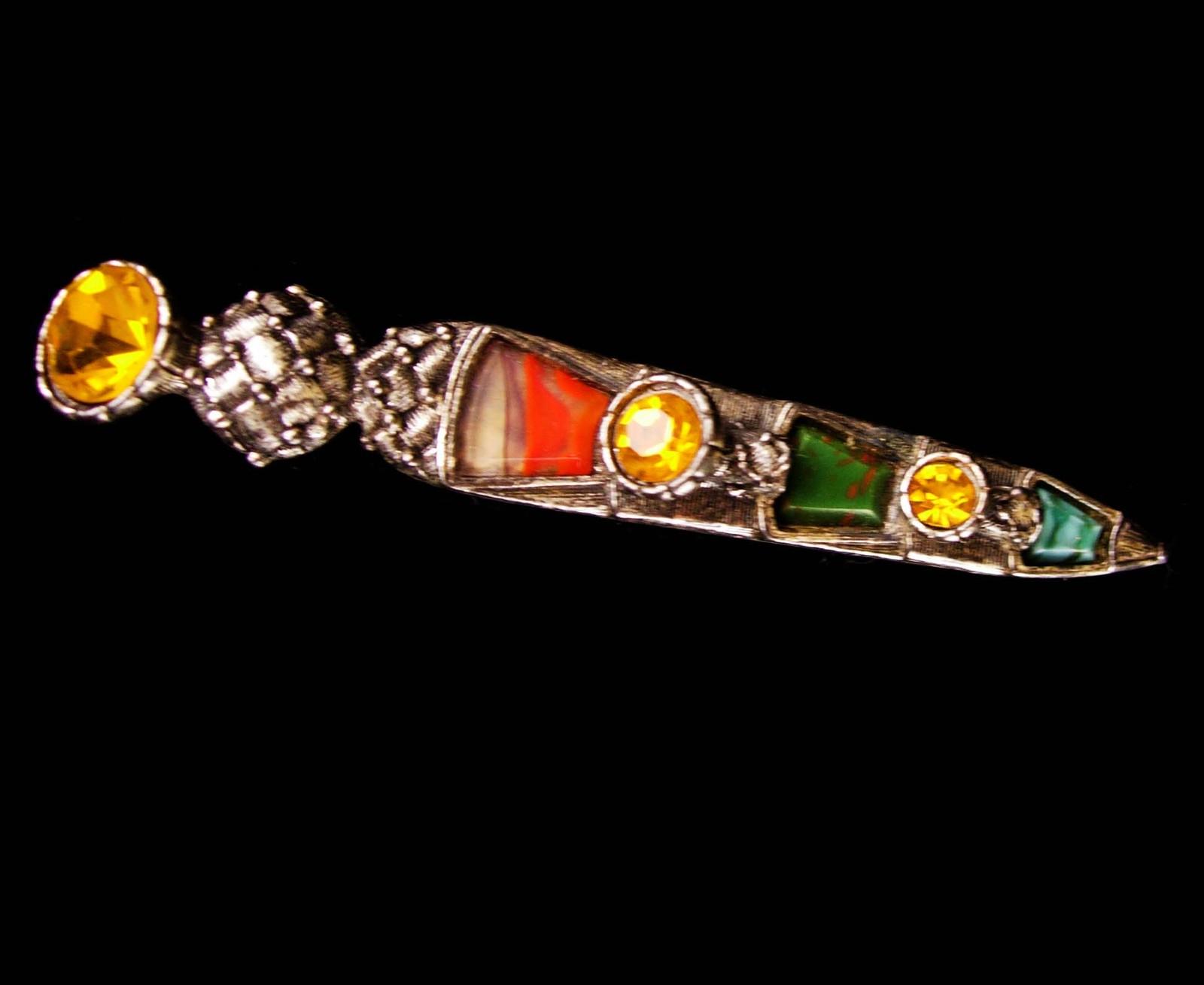 """LARGE Vintage Brooch Scottish Dirk Kilt pin - bloodstone  citrine agate 3 1/2"""" l image 5"""