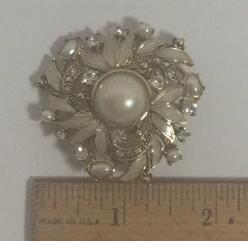Vintage Signed MONET Enamel Rhinestone Blush Faux Pearl Brooch Pin Excellent Cnd