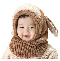 Unique Winter Baby Hat/Cap Useful Warm Cute Woolen Baby Hat with Scarf Brown