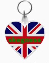 keyring double sided heart,skegness on union flag design, keychain