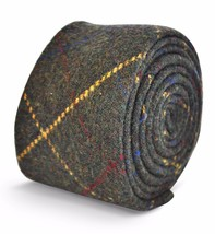 Frederick Thomas grey/green with red & yellow check mens wool tweed tie FT3145