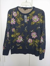 ANN TAYLOR LADIES LS NAVY/FLORAL CREW-NECK PULLOVER SWEATER-MP-NWT-VISCO... - €10,94 EUR