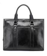 Mens Black Italian Leather Business Bag Briefcase Laptop Case Messenger Bag - $163.34