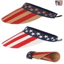 AMERICAN FLAG ROLL UP WIDE BRIM SUMMER BEACH SUN VISOR STRAW HAT 4th of ... - $9.89
