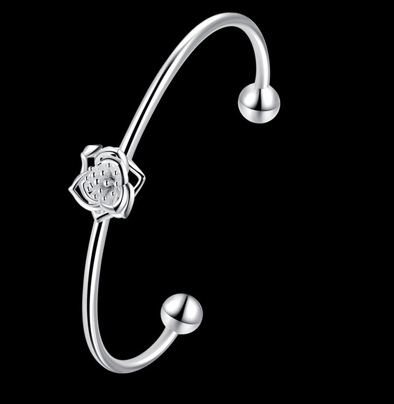 Primary image for Wire Flower Bangle Bracelet 925 Sterling Silver NEW