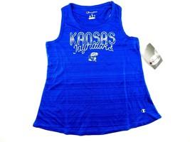 NCAA NWT Kansas Jayhawks Girls Tank Scoop Neck and Racer Back Blue Medium - $7.91