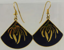 LAUREL BURCH Willow Fan Black Enamel Gold-Tone Drop Dangle Pierced EARRINGS - $25.00
