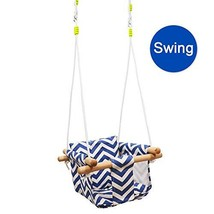 Wood Canvas Hanging Swing with Soft Cotton Cushions,Indoor&Outdoor (swing) - $56.03