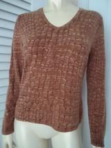 TALBOTS Sz S Sweater Cashmere Silk Blend Pullover Faux Croc Reptile Prin... - $47.50