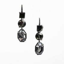 Lia Sophia Dark Gray Black Gem Rhinestone Embellished Drop Dangle Earrings - $65.00