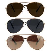 Children Girls Heart Emblem Bridge Metal Rim Pilots Sunglasses - $9.95