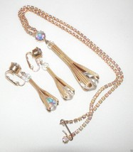 Claw Necklace 1960's ? Retro Funky Australian Crystal gold plated Earrin... - $36.68