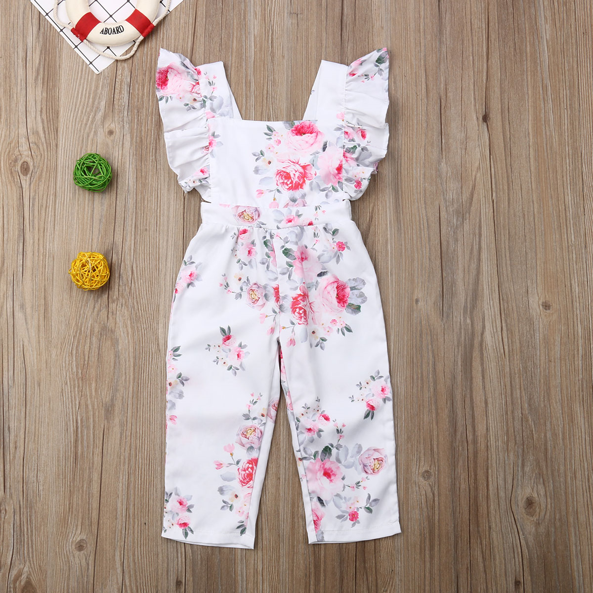Primary image for NWT Girls Floral Ruffle Romper Sunsuit Jumpsuit 2T 3T 4T 5T