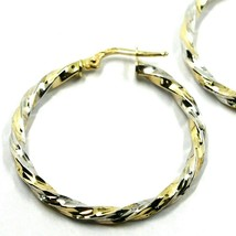 18K YELLOW WHITE GOLD CIRCLE HOOPS PENDANT EARRINGS, 3 cm x 3mm TWISTED, BRAIDED image 2
