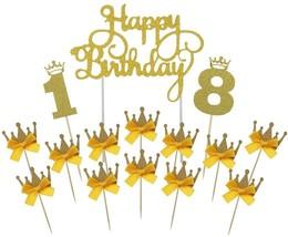 Gold Happy Birthday Cake Topper 18th Number Crown Cupcake Picks For Them... - $24.01