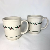 2 Longaberger Traditional Holly Christmas Mugs Woven Traditions Pottery ... - $24.70