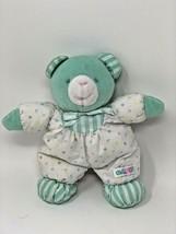 "Vintage Eden Teddy Bear Plush Polka Dot Baby Toy Rattle Green White Stripes 8"" - $27.50"