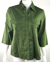 Villager Liz Claiborne Womens Medium Solid Hunter Green Button Up Career... - $14.01