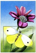 CENTRAL AFRICA 2001 African BUTTERFLIES  S/S SC#1402 ** MNH CV$7.00 INSECTS - $1.44