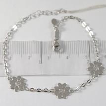 Bracelet En Or Blanc 750 18K Avec Trois Marguerites, Fleurs, Longueur 18 Cm - $237.42