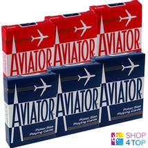6 DECKS AVIATOR STANDARD INDEX PLAYING CARDS 3 RED 3 BLUE BOX CASE POKER... - $21.77