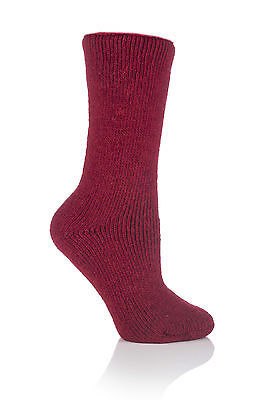Ladies WOOL 2.7 Tog Original Thermal Heat Holders Socks 4-8,37-42 Cherry Red