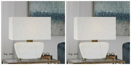 """TWO MODERN DECOR 22"""" AGED BRASS METAL WHITE STONE MARBLE GENESSY TABLE LAMP - $589.60"""